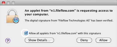 Safari Fiileflow certificate confirmation